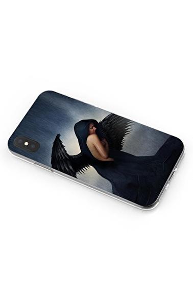 Lopard iPhone Xs Max Kılıf Silikon Arka Kapak Koruyucu Black Angel Desenli Full HD Baskılı Renkli